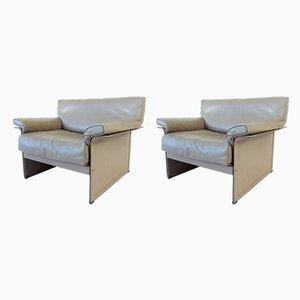 Graue 2-Sitzer KM Sessel von Tito Agnoli für Matteo Grassi, 1980er, 2er Set