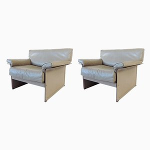 Gray KM 2-Seat Lounge Chairs by Tito Agnoli for Matteo Grassi, 1980s, Set of 2