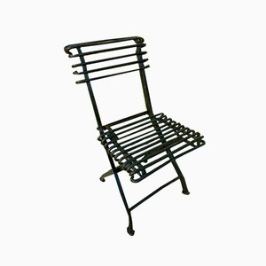 Modernist Green Iron Garden Folding Chair, 1930s