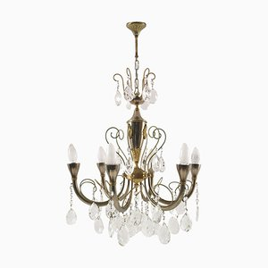 ItalianSilver and Gold Ceiling Lamp, 1920s