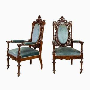 Antike Alfonsinas Armlehnstühle, 2er Set