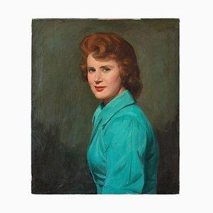 Portrait einer Frau in einem türkisen Mantel, 1950er, Ölgemälde