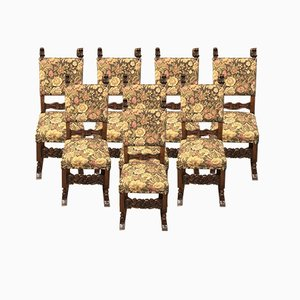 French Carolean Style Oak Dining Chairs, 1920s, Set of 8