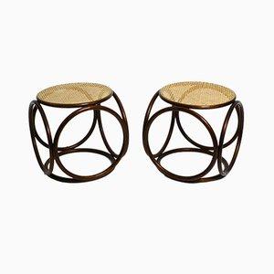 Sgabelli in legno curvato con sedute intrecciate viennesi di Thonet, anni '50, set di 2