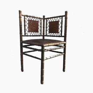 Antiker Beistellstuhl aus Nussholz & echtem Leder, ca. 1900