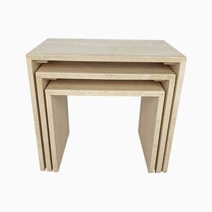 Italian Travertine Nesting Tables, 1980s, Set of 3
