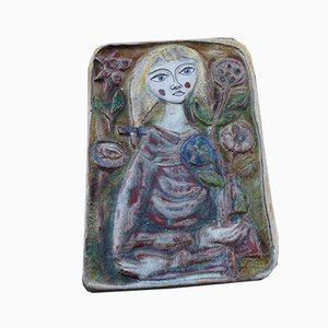 Ceramic Plate Showing Woman with Flowers by Giovanni Desimone, 1960s