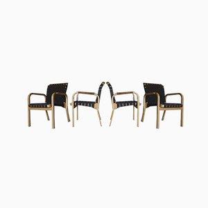 Sedie da pranzo 45 vintage di Alvar Aalto per Artek, set di 4