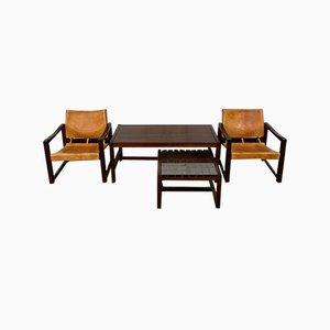 Set da salotto in pelle e tavolino da caffè di Karin Mobring per Ikea, anni '70, set di 4