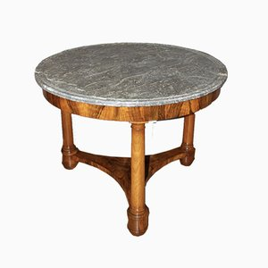 Vintage Empire Walnut & Marble Pedestal Side Table