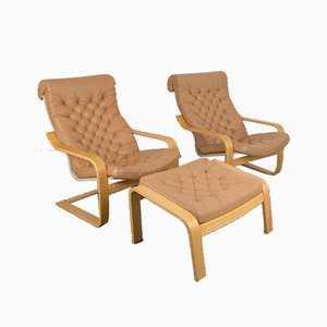 Vintage Original Leather Poem Lounge Chairs & Footrest by Noboru Nakamura, 1970s, Set of 3