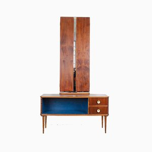 Mid-Century Restored Hallway Cabinet with Winged Mirrors