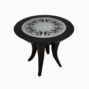 Mid-Century Italian Black Shellac and Mirror Sidetables, 1980s, Set of 2
