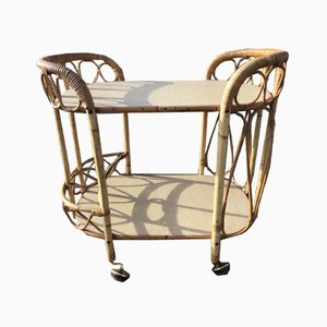 Mid Century Vintage Rattan and Bamboo Bar Cart with Brass Wheel, 1960s