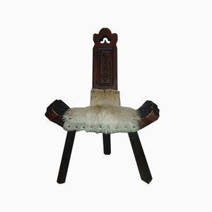 Silla Art Déco vintage de madera tallada