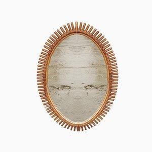 Specchio da parete vintage in vimini di Franco Albini, Italia, anni '60