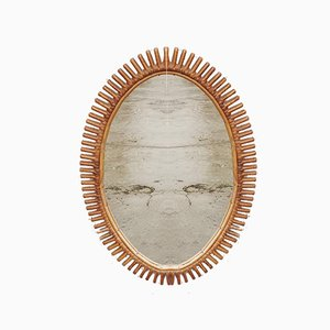 Vintage Italian Wicker Rattan Wall Mirror by Franco Albini, 1960s