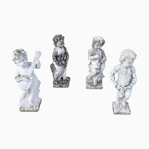 Neoclassical Stone Garden Statues, 1930s, Set of 4