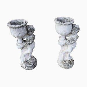 Statue da giardino neoclassiche in pietra con vasi, anni '30, set di 2