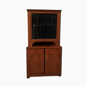 Biedermeier Poplar and Briar Wood Corner Cabinet, Austria, 1820s