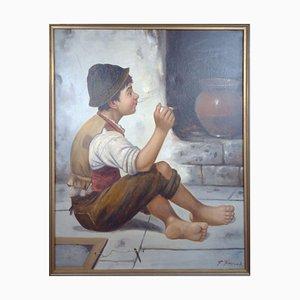 Smoking Boy by Francois Xavier Bricard, 1881-1935, France.