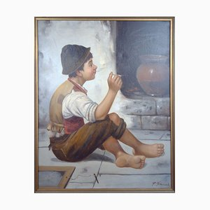 Smoking Boy von Francois Xavier Bricard, 1881-1935, France.