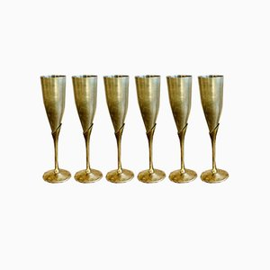 Mid-Century Brass Champagne Glasses, Set of 6