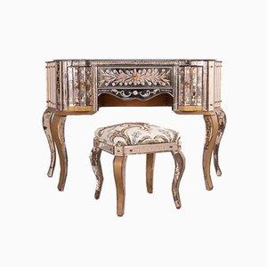 Geschwungener Venezianischer Verspiegelter Schreibtisch und Hocker, 1920er, 2er Set