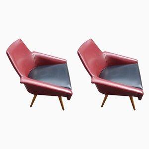Zweifarbige Moleskin Sessel, 1960er, 2er Set