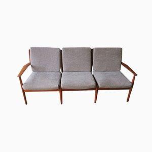Dänisches Mid-Century Teak 3-Sitzer Sofa von Grete Jalk