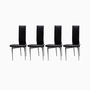 Italian Black Stitched Leather Dining Chairs by Giancarlo Vegni & G. Gualtierotti for Fasem International, 1987, Set of 4