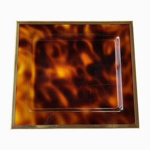 Tortoiseshell Effect Plexiglass Serving Tray with Brass Edging by House of Dior, 1960s
