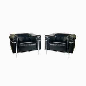 Leather Club Chairs, 1980s, Italy, Set of 2