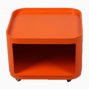 Space Age Orange Side Table on Wheels by Anna Castelli Ferrieri for Kartell, 1970s