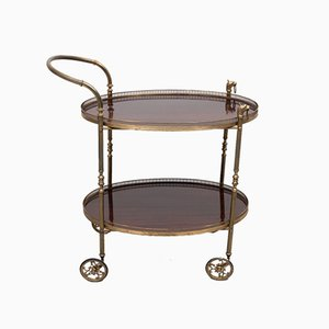 French Brass & Mahogany Serving Trolley, 1954