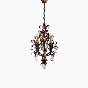Vergoldeter Kronleuchter aus Metall und Murano Glastropfen von Maison Baguès, 1950er