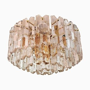 Large Glass Flush Mount Palazzo Ceiling Lamp by J. T. Kalmar, 1970s