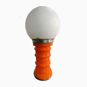 Lámpara de mesa italiana de cristal de Murano naranja, años 70