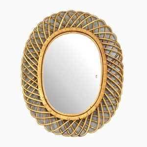Oval Rattan and Bamboo Mirror