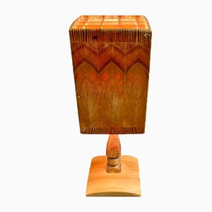 Scandinavian Solid Wood Table Lamp, 1950s