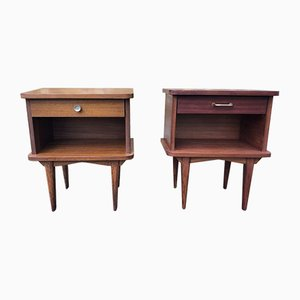 Mid-Century Nightstands with Tapered Legs, Set of 2