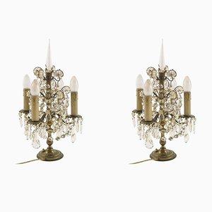 Lampade da tavolo antiche Art Nouveau in bronzo, set di 2
