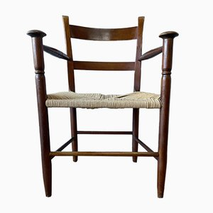 Mid-Century Danish Beech Armchair with Woven Rush Seat