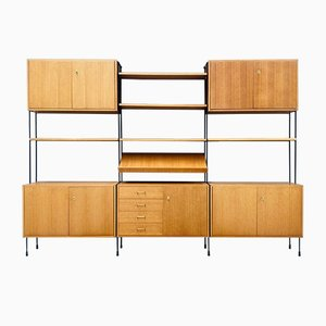Large Mid-Century Teak Floating Wall Unit by Dieter Hilker for Omnia, 1960s