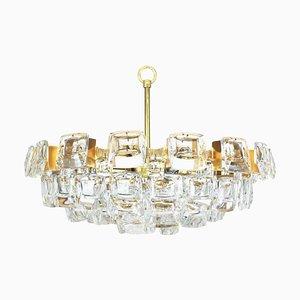 Großer Vergoldeter Messing und Kristallglas Kronleuchter von Palwa, 1960er