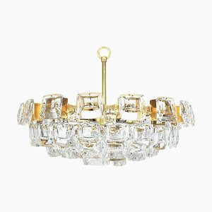 Large Gilt Brass and Crystal Glass Chandelier from Palwa, 1960s