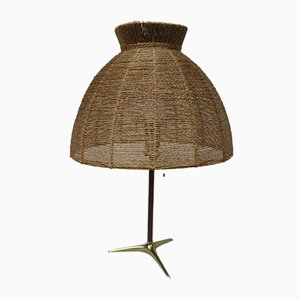 Austrian Brass, Wood & Cord Table Lamp with Crow's Foot, 1950s