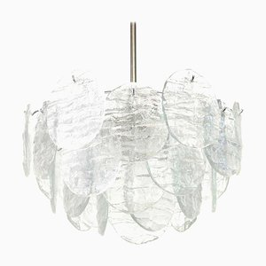 Large Murano Blatt Ice GlassChandelier by J. T. Kalmar for Kalmar, 1960s