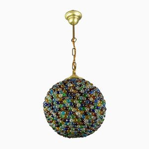 Vintage Globe-Shaped Pendant Light with Multi Colored Murano Glass Beads, 1930s