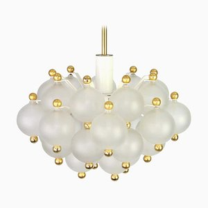 Large Frosted Glass and Brass Chandelier from Kinkeldey, 1970s